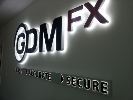 """Illuminated channel letters """"GDM FX"""""""