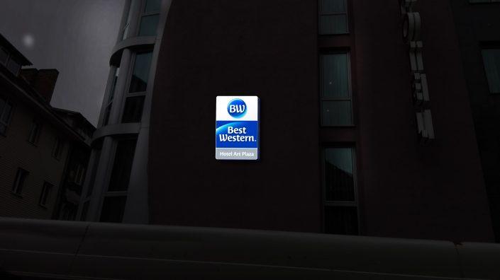"""Визуализация на светеща реклама - """"Best Western – Art Plaza"""""""
