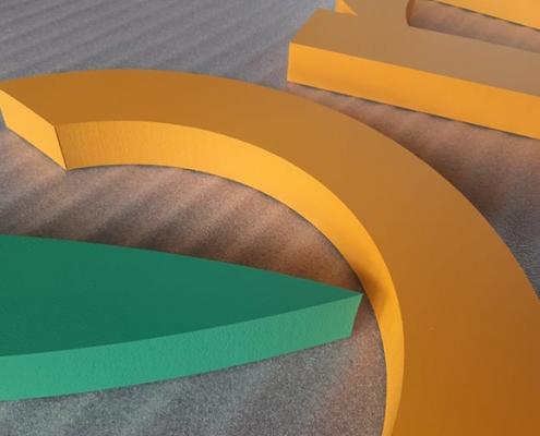 Обемни интериорни букви от фибран